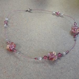 Jewelry - Lampwork and Swarovski Floral Necklace
